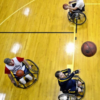 Wheelchair basketball court shooting