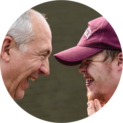 man and boy laughing