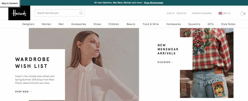 Screenshot of skip link on Harrods.com