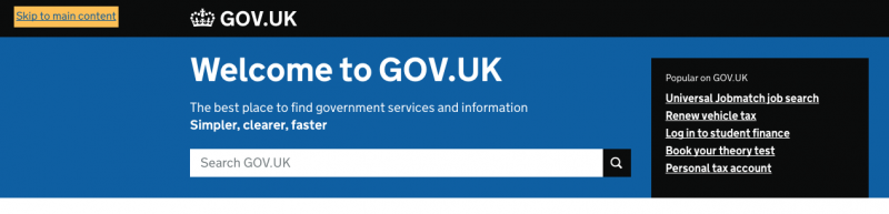 Screenshot of skip link on gov.uk website