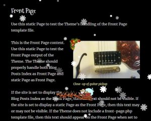 Screenshot of website page with content and an image. Snowflakes are passing across the screen - as is Santa's sledge.