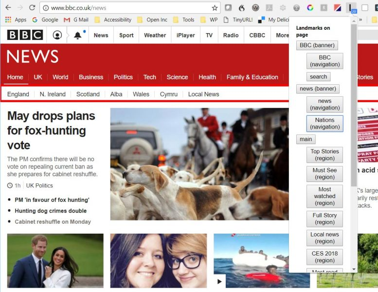 BBC News webpage showing the Landmarks dropdown on the right, and one of the landmarks highlighted in red.